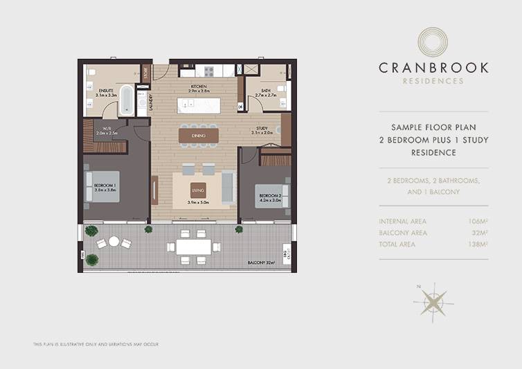 2 Bedroom Plus Study Cranbrook Residences
